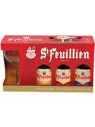 COFFRET ST FEUILLIEN BLONDE/BRUNE/TRIPLE 3X33CL+ VERRE