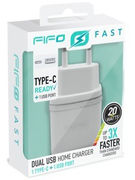 ULTRA FAST DUAL HOME CHARGER TYPE C + USB (NO CABLE) (47173)