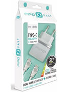 ULTRA FAST DUAL HOME CHARGER+ CABLE TYPE C TO IPHONE (47176)