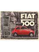 TIN SIGN 30 X 40 FIAT 500/RED CAR IN THE STREET